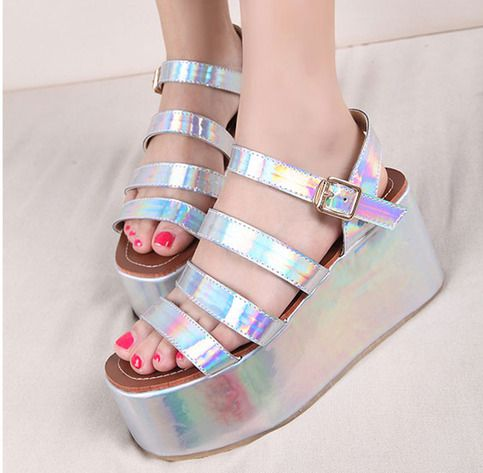 Happy shopping  Color: Sliver Shoes size: 35-39  Inner: leather platform high:8cm  It is very Trendy for mix and match !!