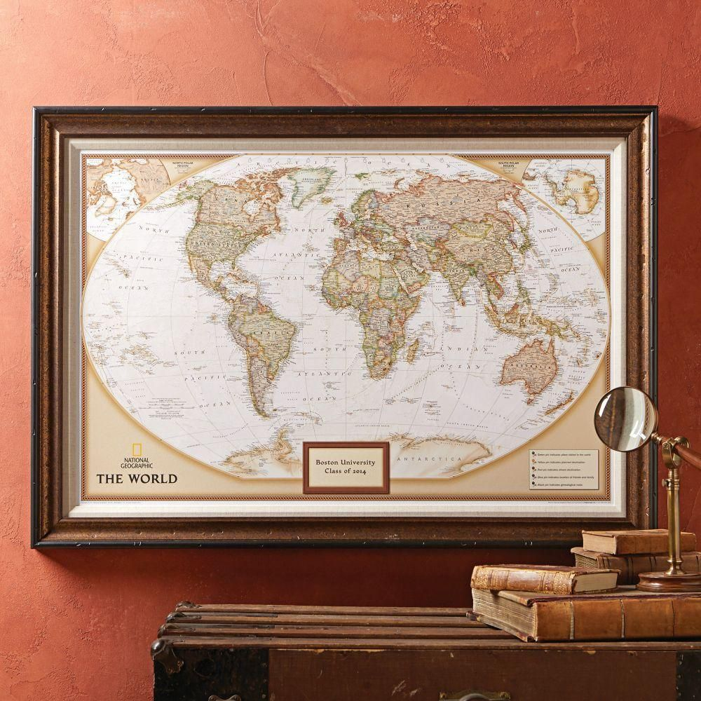 National Geographic My World Personalized Map Premium Edition World Map Wall Art Map Wall Art World Map Wall