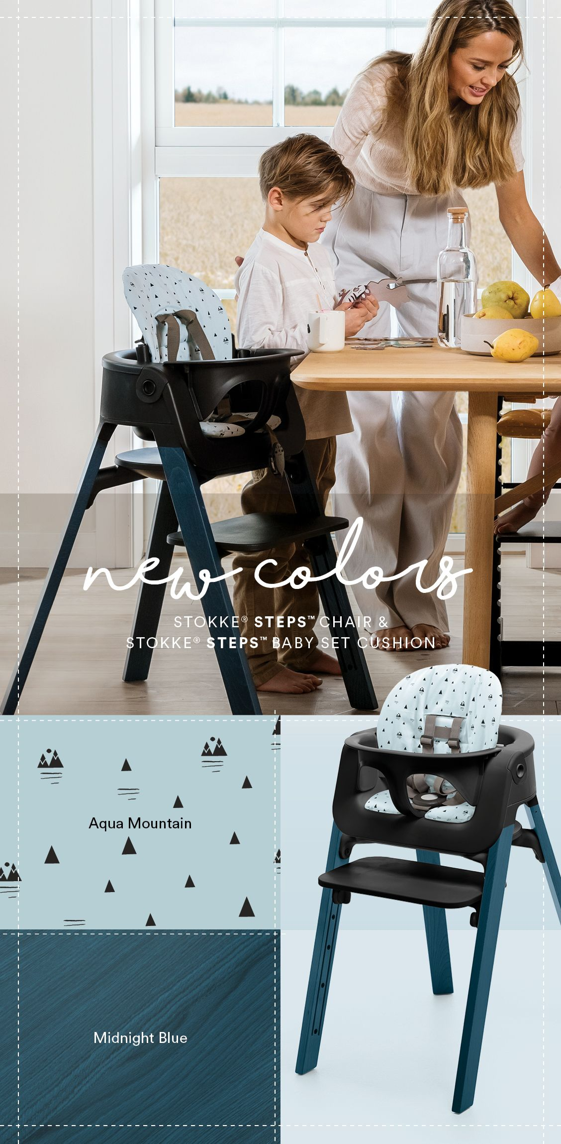 Our Steps High Chair Is Now More Customizable Than Ever Add 100 Organic Cotton Accessories And New Midnight Blue Woode Midnight Blue Stokke Steps Little Boys