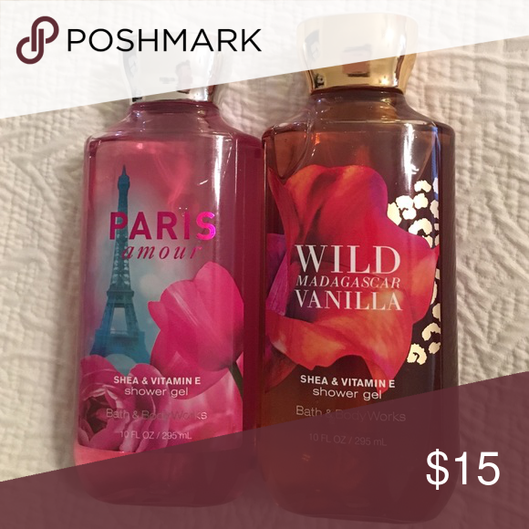 Shower Gel Bundle💕 2 Bath & Body Works shower gels: Paris Amour and Wild Madagascar Vanilla. Never been used! Both have Shea and vitamin E. Bath & Body Works Other