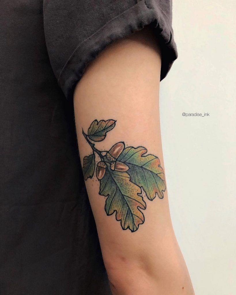 Oak Leaves Tattoos : leaves, tattoos, Tattoo, Branch, Leaves, Acorns, Inked, Right, Tattoo,, Tattoos