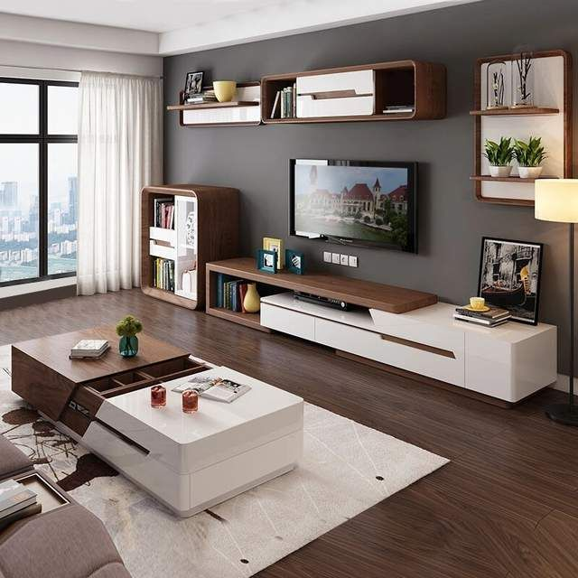 Online Shop Modern Minimalist White Painted Coffee Table Tv Cabinet Combination Fashion Wood Living Room Stands Living Room Design Decor Minimalist Living Room Living room table for tv
