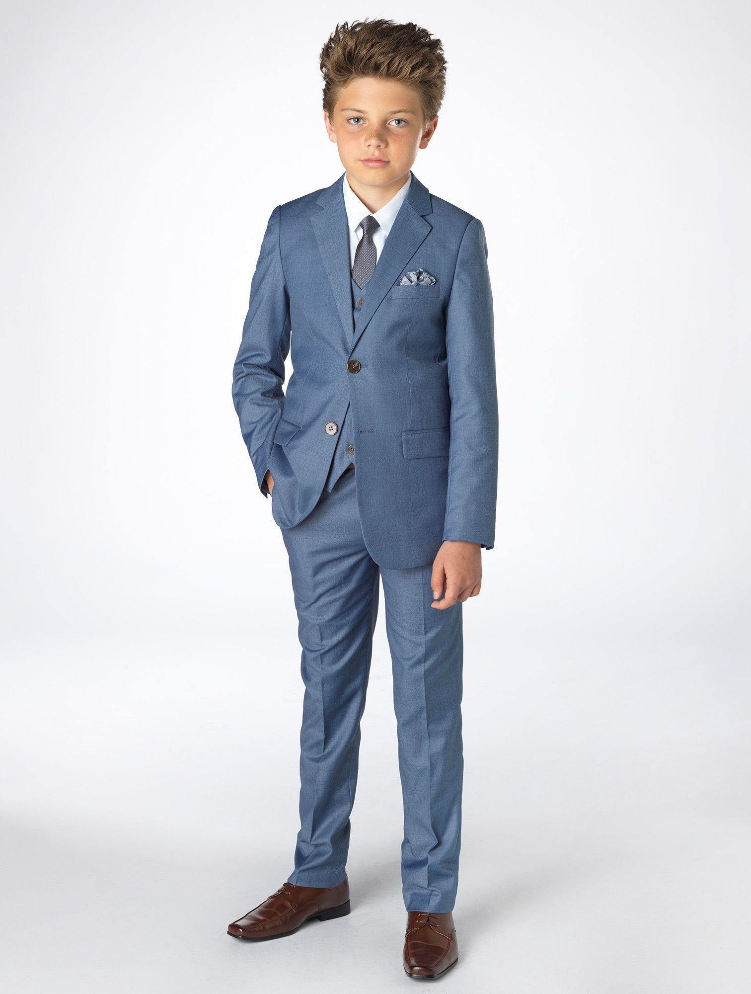 Boys blue chambray wedding suit - Sampson | Pinterest