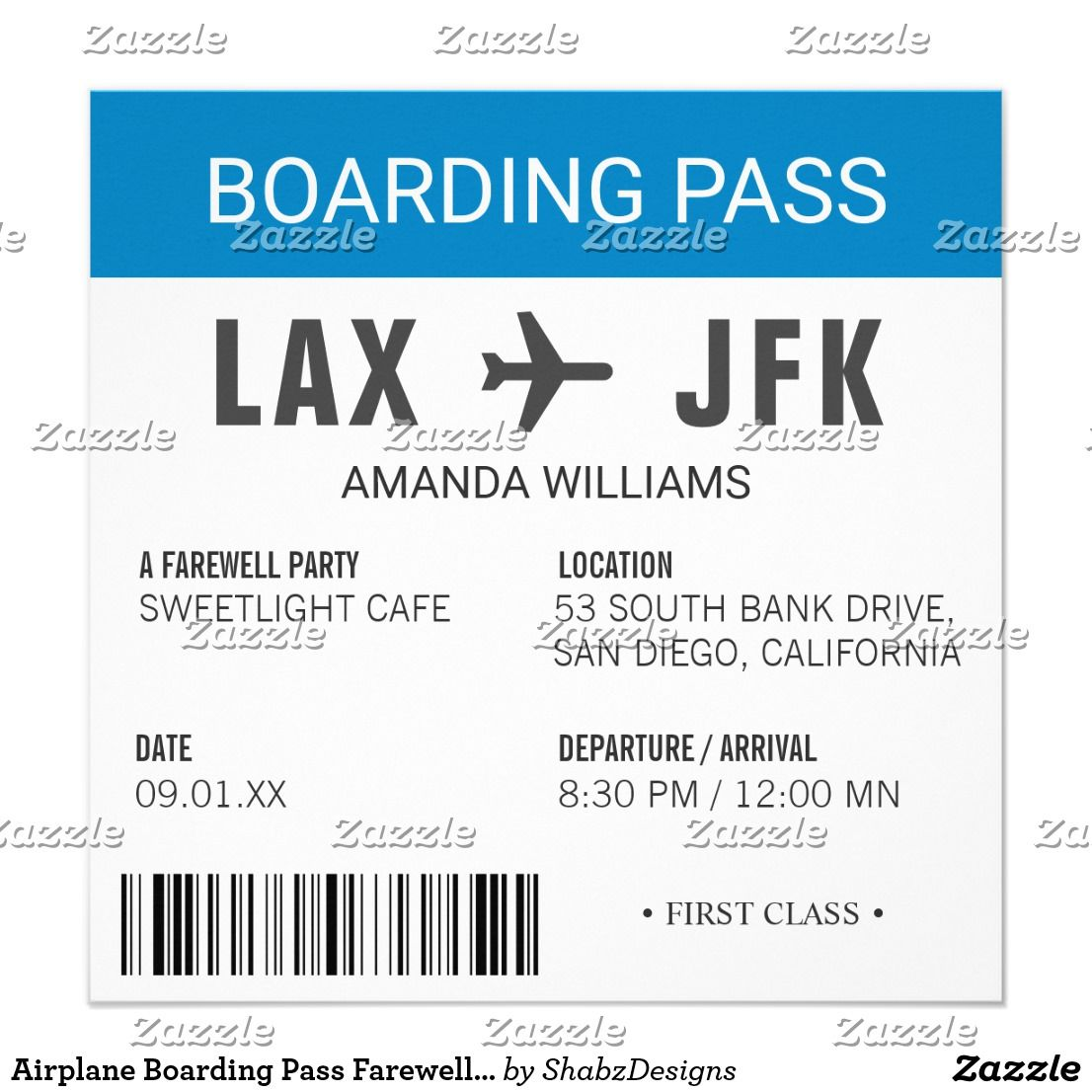 Airplane Boarding Pass Farewell Party Invitation Invites Of