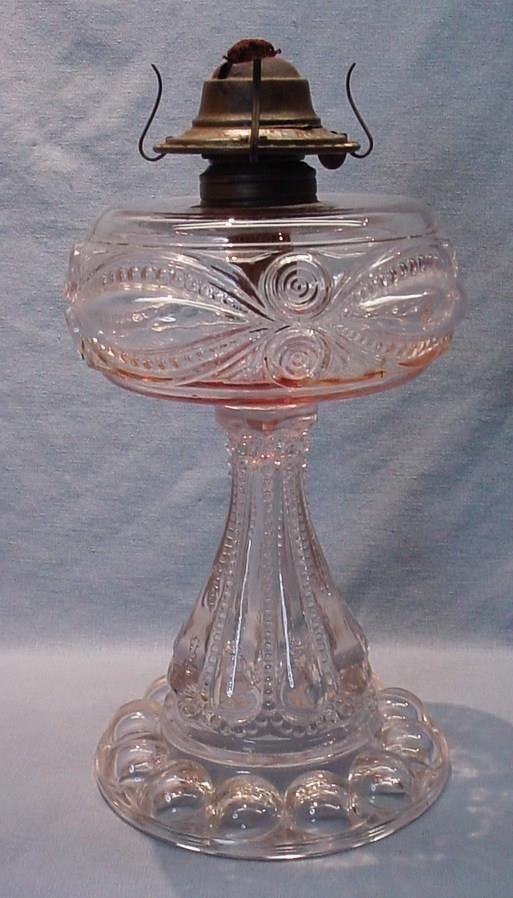 1890 S Findlay Glass Ohio Eyewinker Pedestal Coal Oil Lamp Oil