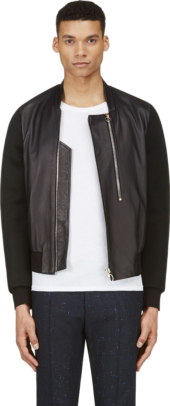 Paul Smith: Black Leather & Neoprene Mesh Bomber Jacket