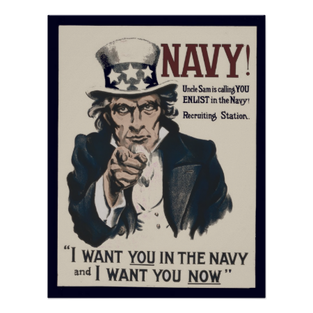 Retro WWI One Uncle Sam I Want You For U.S Army Recruiting Poster