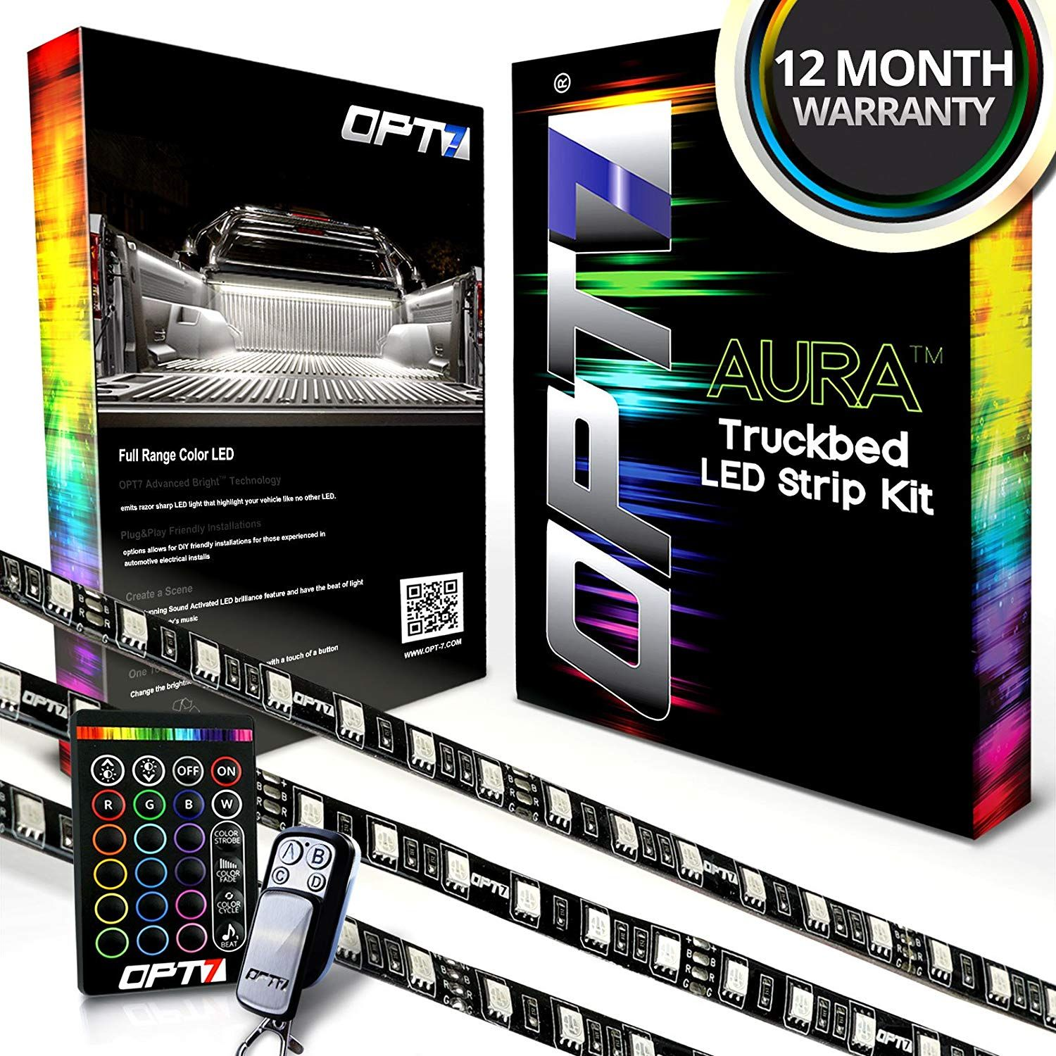 Opt7 Aura 3pc Truck Bed Full Coverage Led Lighting Strip Kit Sound Activated Multi Color Lights Wireless R Truck Bed Lights Truck Bed Led Lights For Trucks