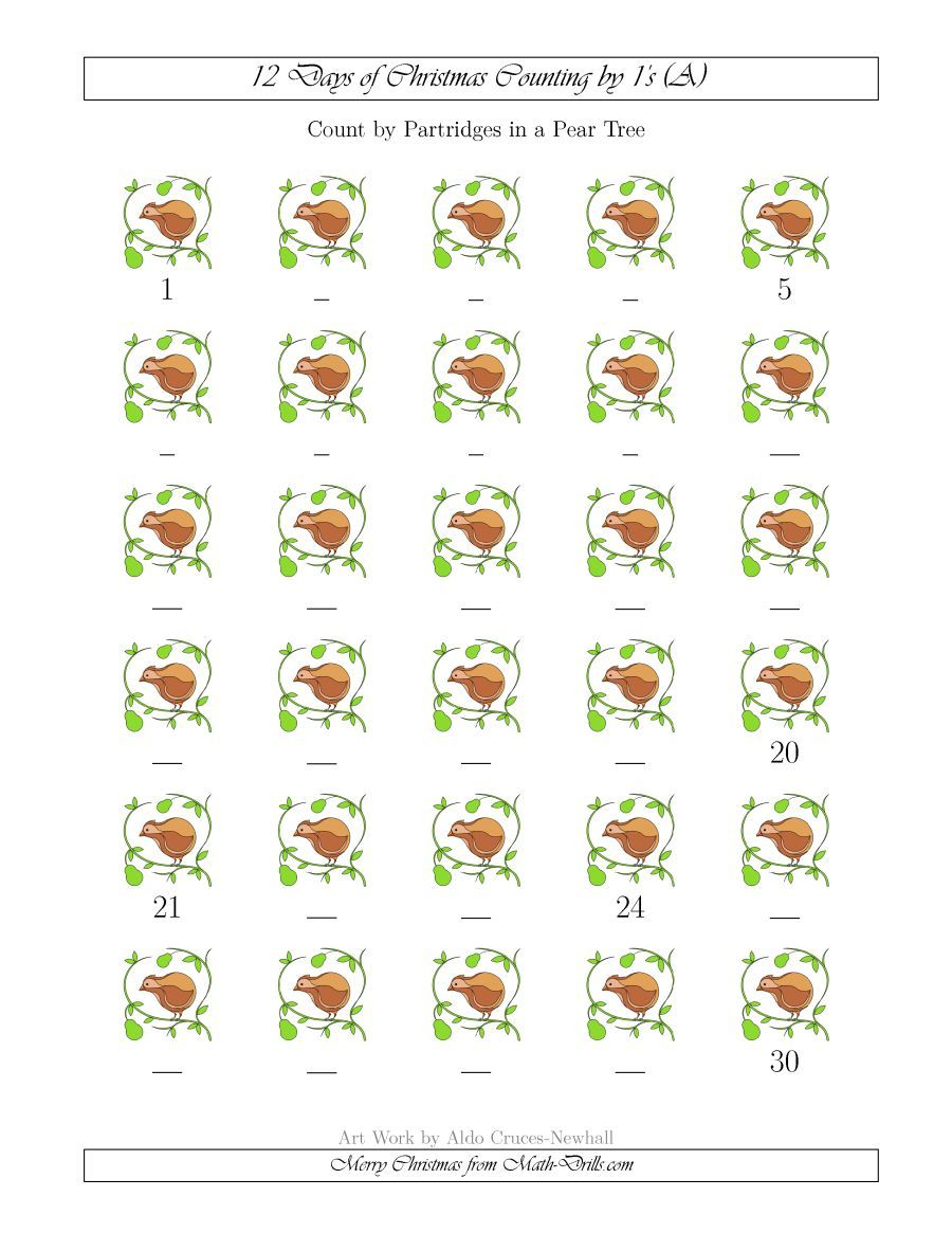 The 12 Days Of Christmas Counting By Partridges In A Pear Tree A Math Worksheet From The Christ Christmas Math Worksheets Christmas Math Christmas Worksheets [ 1165 x 900 Pixel ]