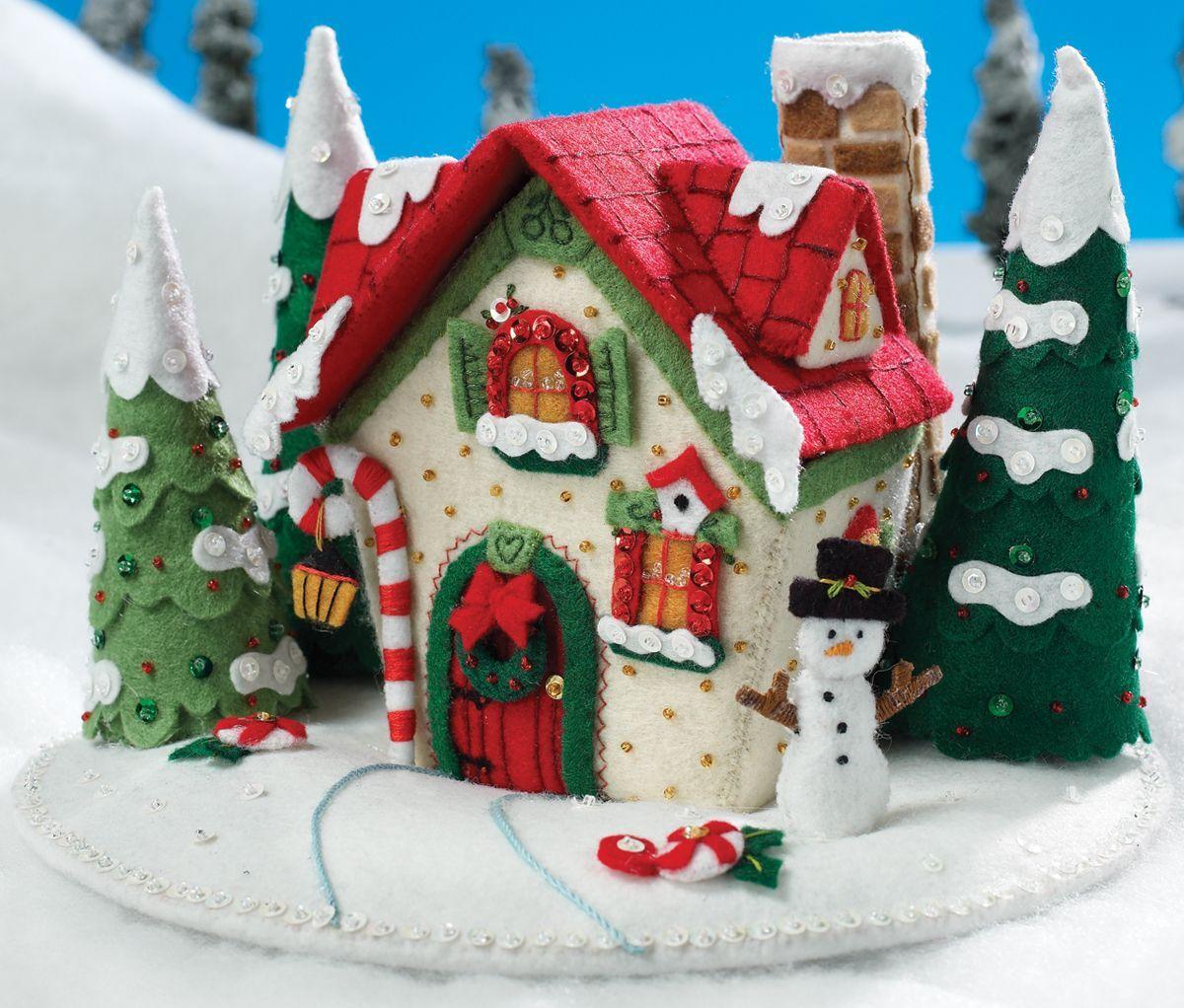 Casa navide a navidad pinterest navidad fieltro y - Casitas de navidad ...