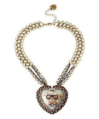 Goldtone Bulldog Heart Cameo Pendant Necklace