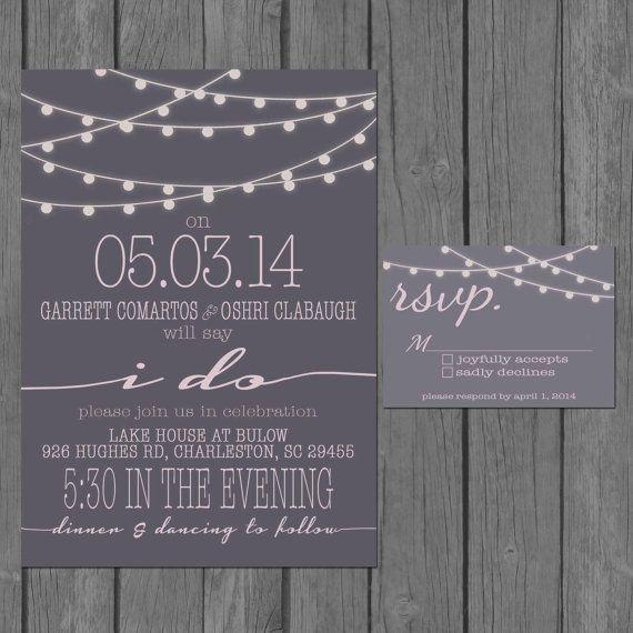 Digital Wedding Invitation Ideas: Digital String Light Wedding Invitation, Modern, Strings
