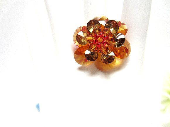 Hand Beaded Cocktail Ring Swarovski Crystal Honey Gold and Red