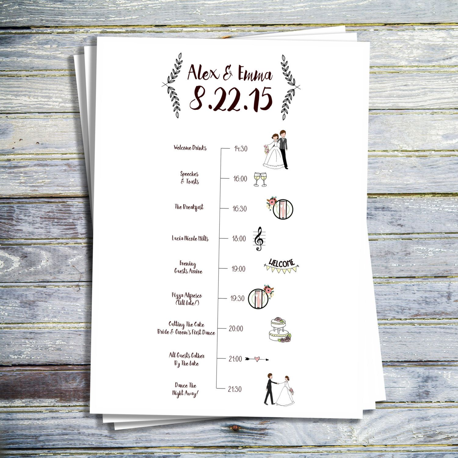 Wedding Timeline Printable Wedding Program By