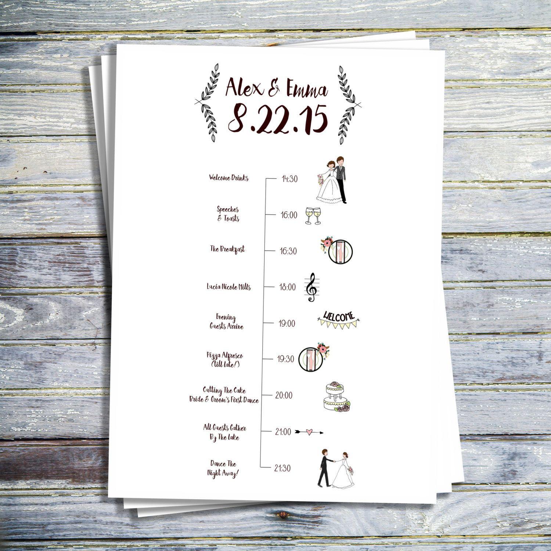 Wedding Timeline Printable Wedding Program By