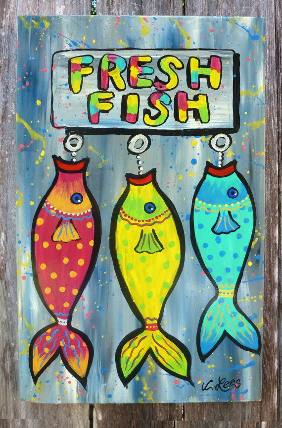 Fresh Fish on wood panel. Original Acrylic by GulfportArtist, $25.00