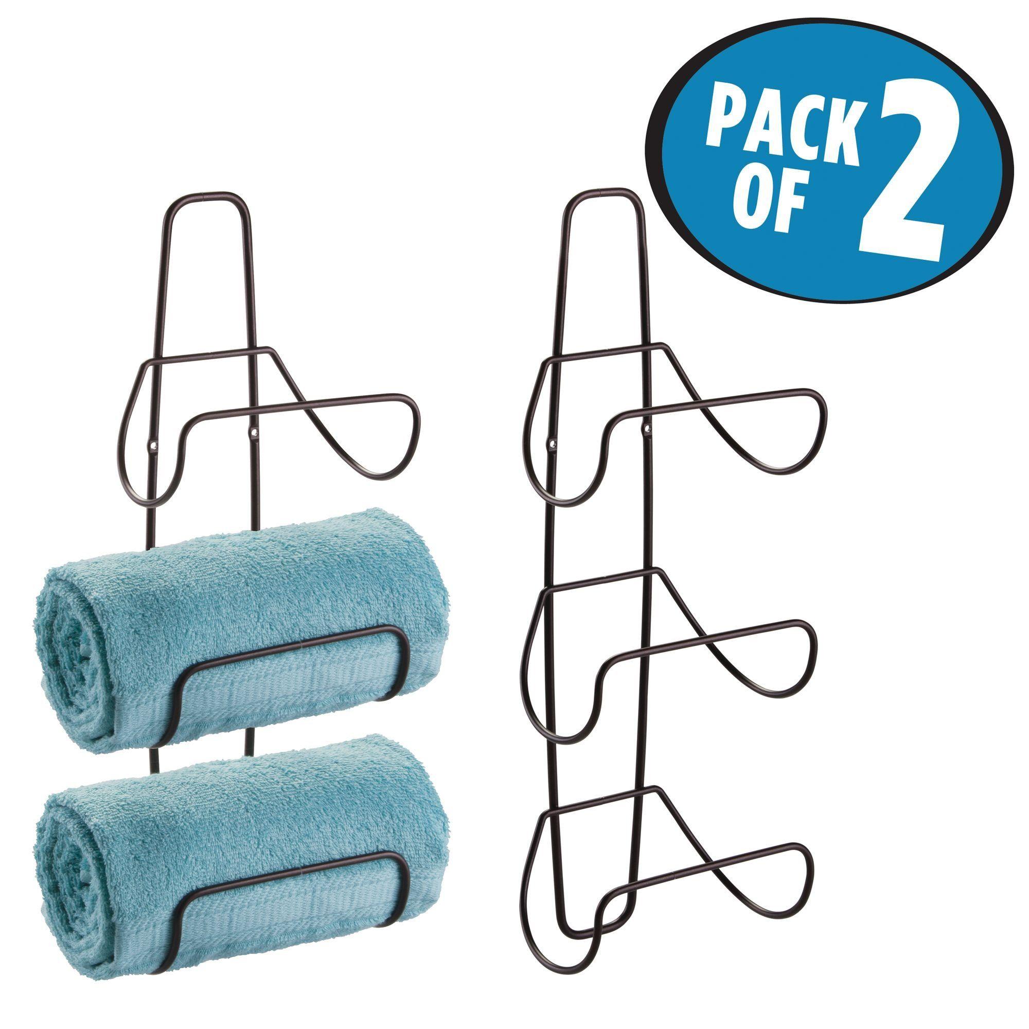 mDesign Wall Mount or Over Door Bathroom Towel Rack - Pack of 2 ...