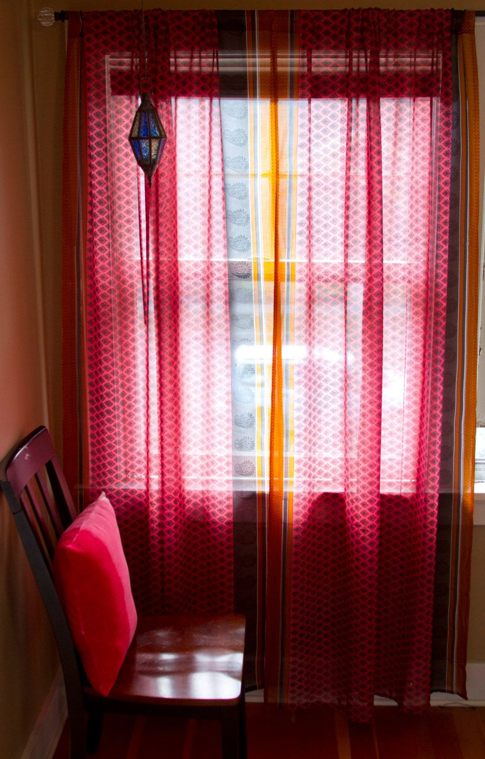 Sari Curtains Two Sheer Curtain Panels Pink And Orange Sari