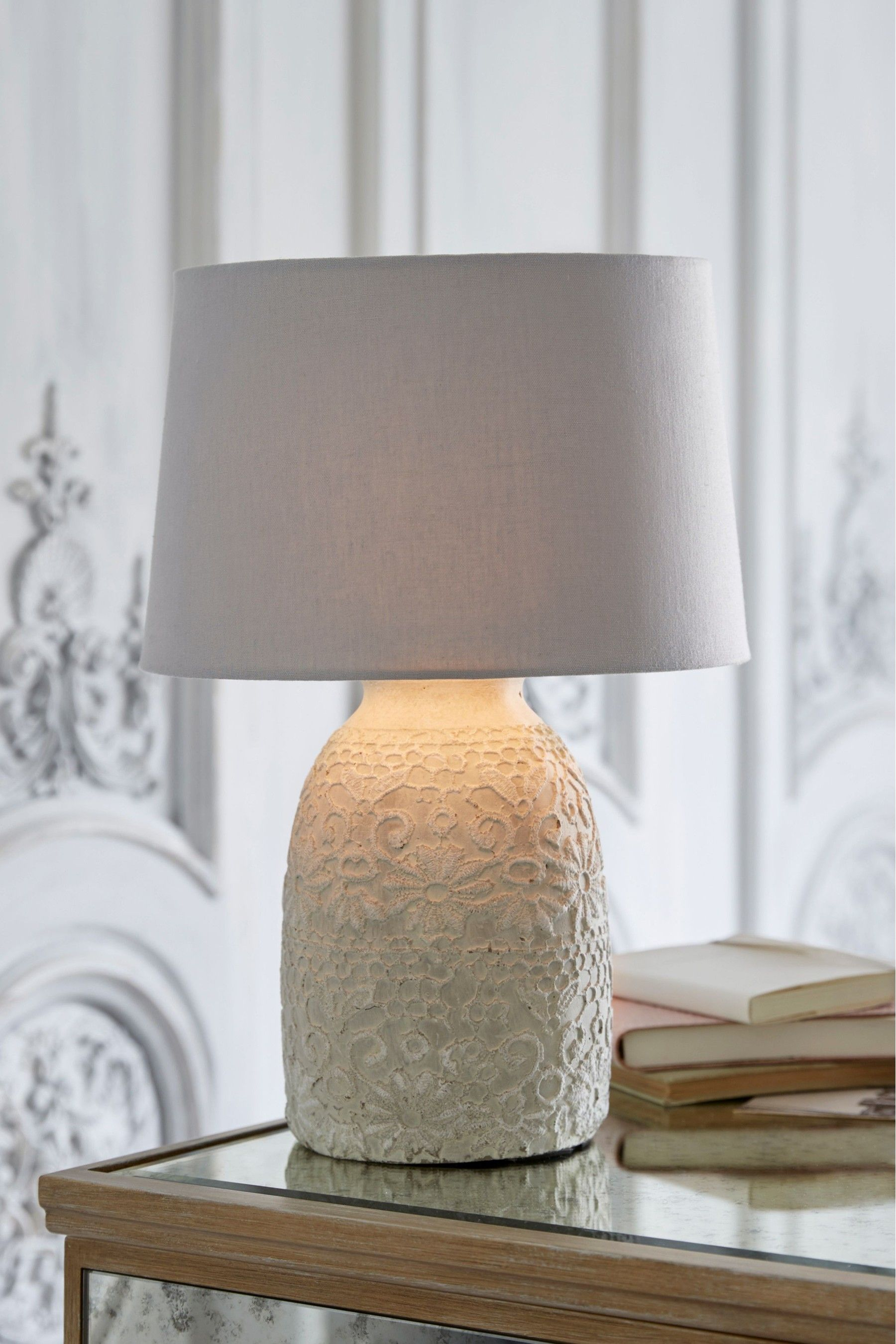 Next Lace Table Lamp Grey Table Lamp