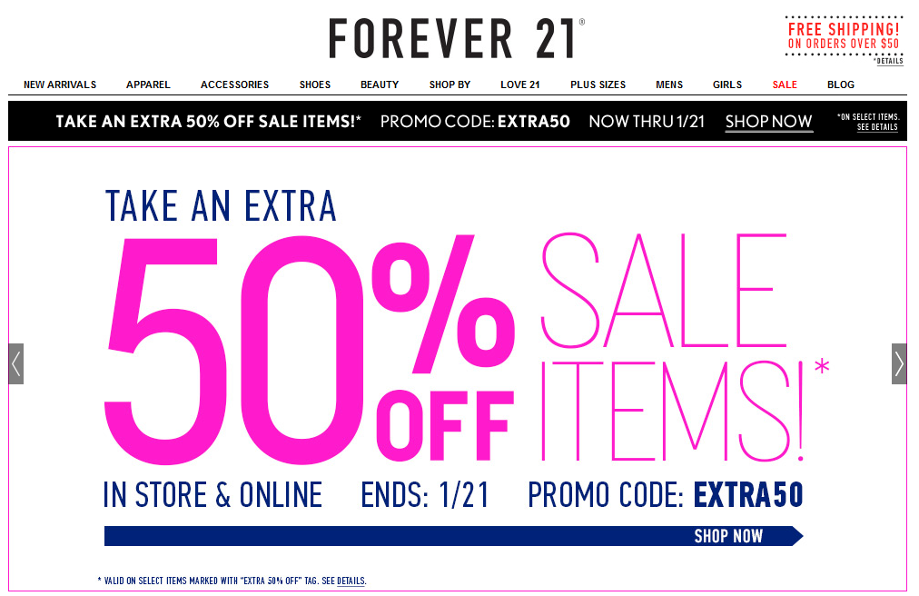 20c0a6ad79871 Extra 50% off sale items at Forever 21, or online via promo code EXTRA50  coupon via The Coupons App