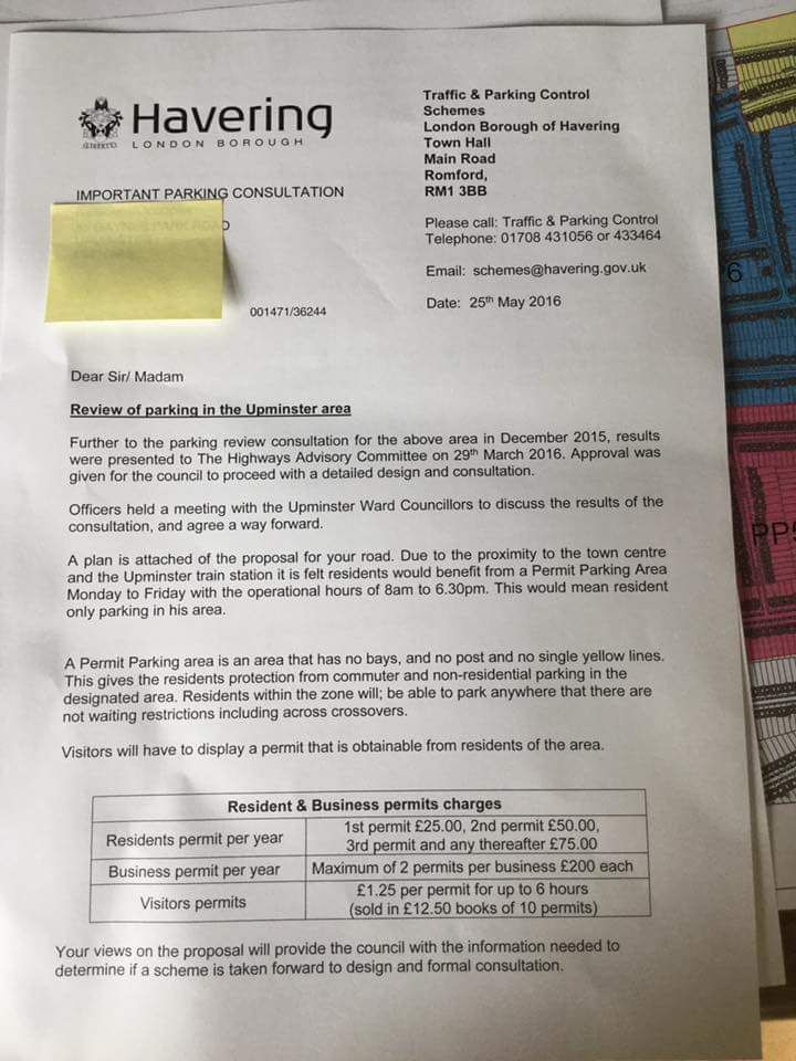 Upminster Residents Receive Proposal For Parking Restrictions