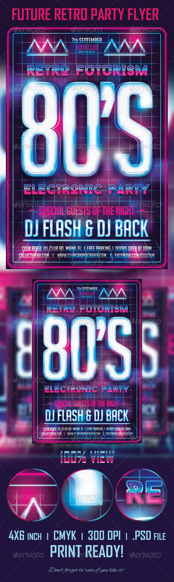 Future Retro Party Flyer Template | Flyer template, Retro party ...