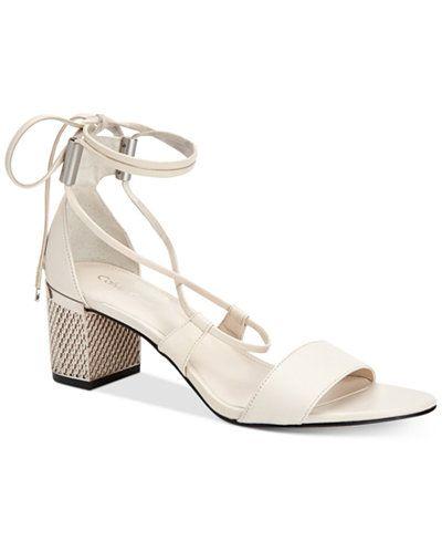 3cc760b6227 Calvin Klein Women s Natania Lace-Up Block-Heel Sandals