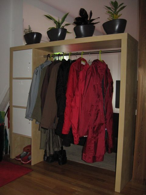 IKEA Hackers: wardrobe from EXPEDIT bookcase or entertainment center - perfect for a room divider in a small house or for his & her closet space
