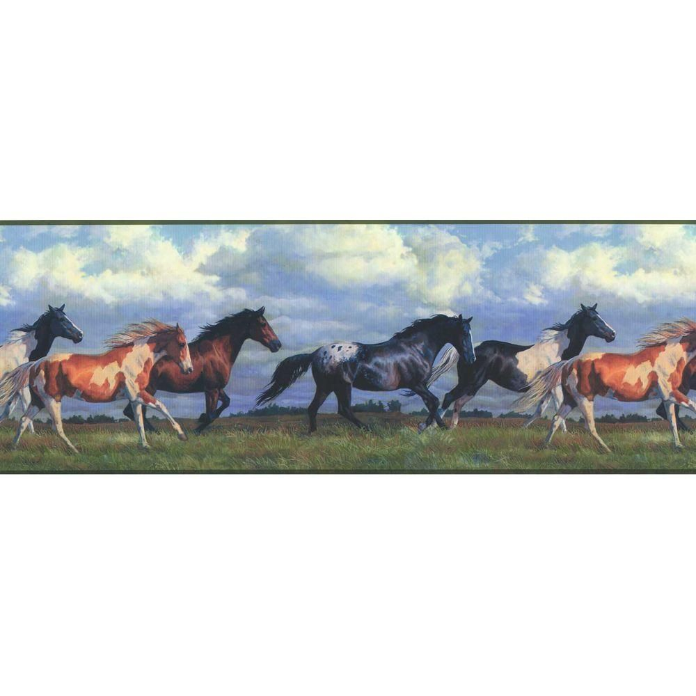 York Wallcoverings Lake Forest Lodge Horse Running Free