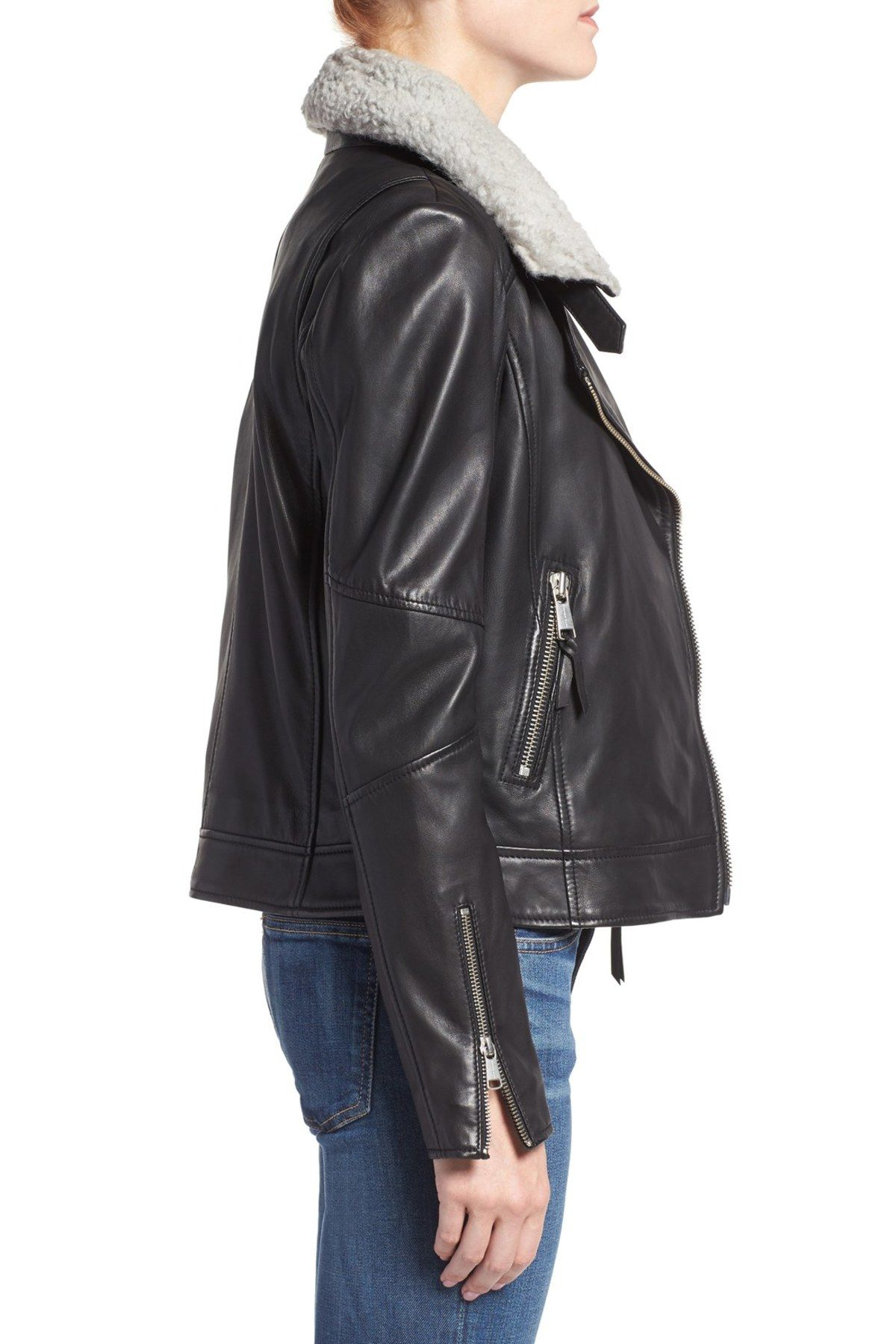 Asymmetrical Zip Leather Jacket with Genuine Shearling by