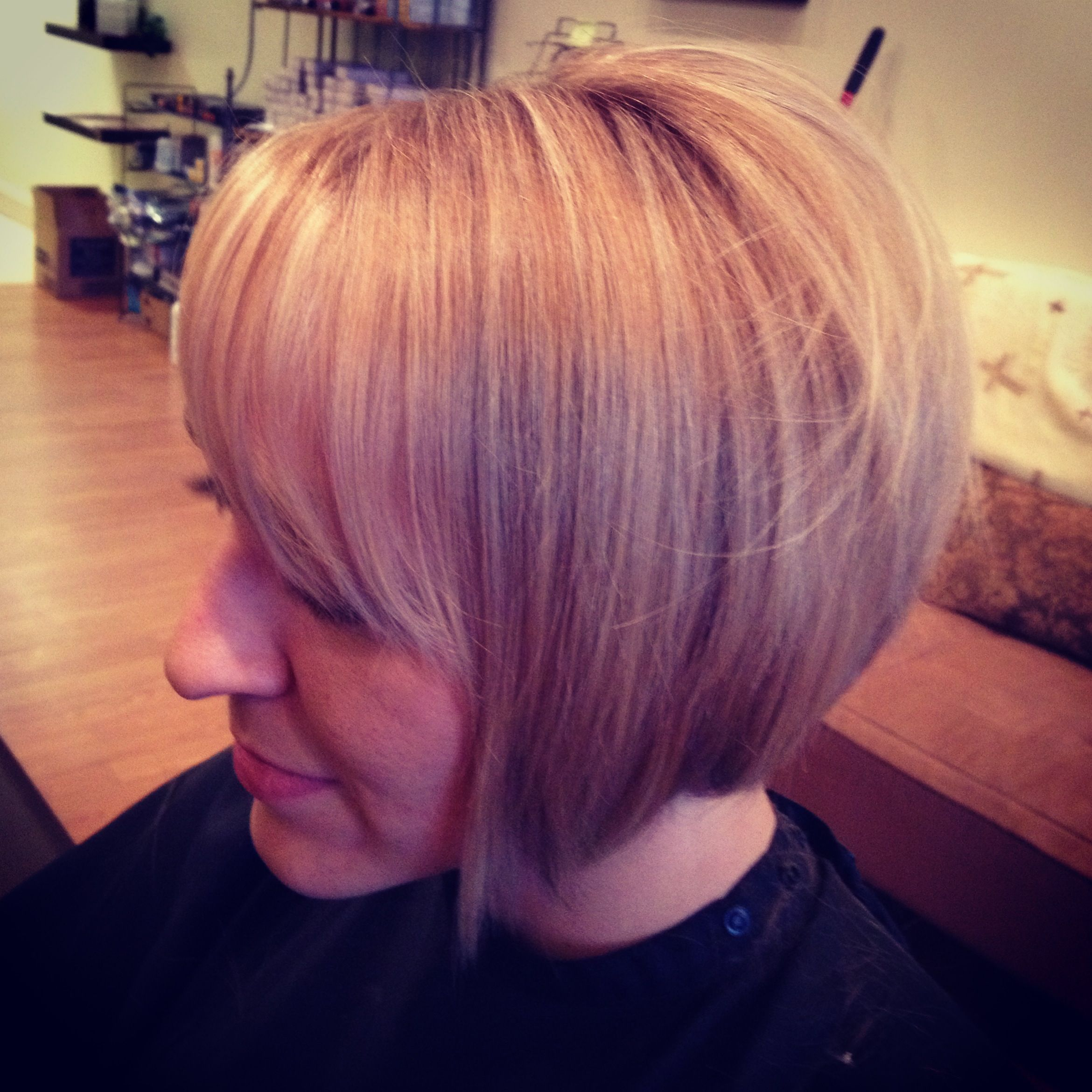 Drop bob with blonde lows and highlights