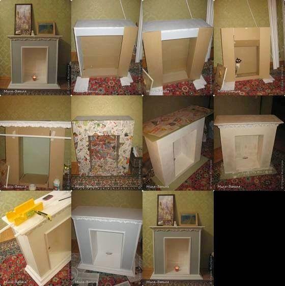 Cómo hacer una chimenea con cajas de cartón Manualidades, Navidad