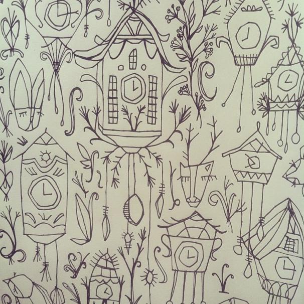 Cuckoo Clock Repeated Pattern / Laura Korzon Illustration / Lilla Rogers MATS Bootcamp