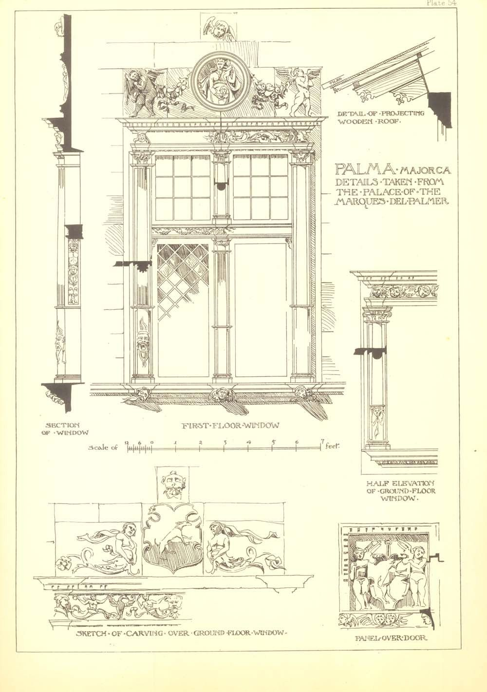 vintage window drawing. architectural details drawing andrew n prentice vintage print, spanish renaissance architecture, palma majorca, window