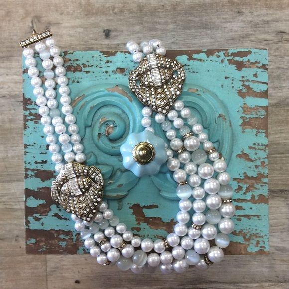 Statement Necklace Very Glamorous and ready for your social day or night. Hypoallergenic, lead and nickel free. Ocean Jewelers Jewelry