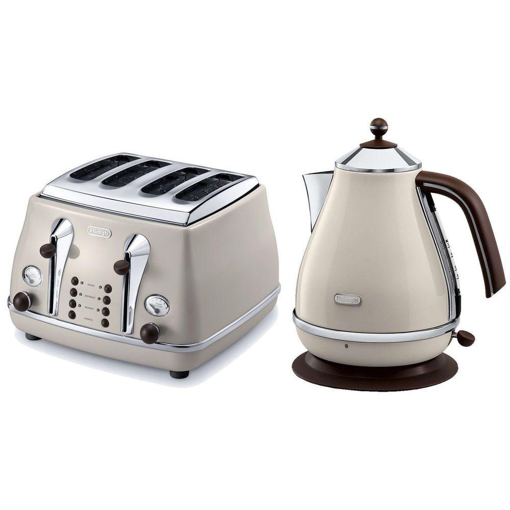delonghi vintage icona beige kettle 4 slice toaster set. Black Bedroom Furniture Sets. Home Design Ideas