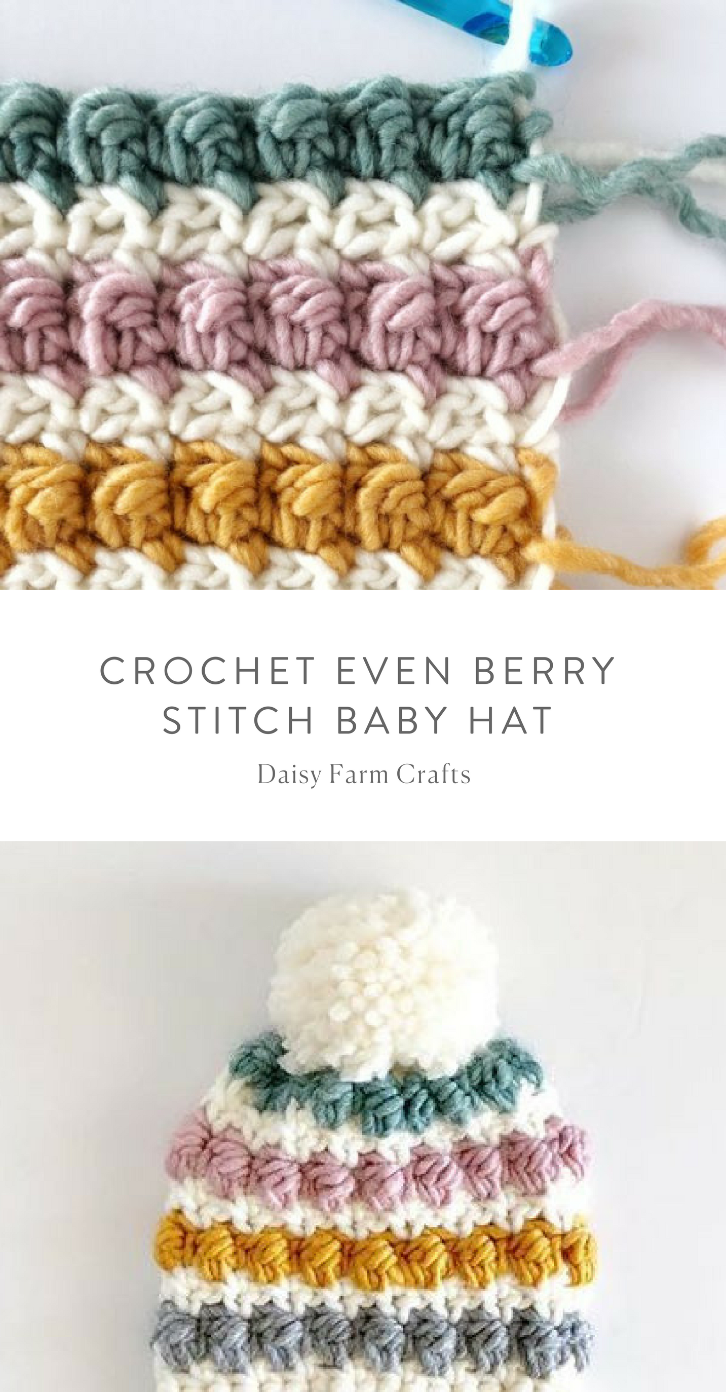 Free Pattern - Crochet Even Berry Stitch Baby Hat   Knitting and ...