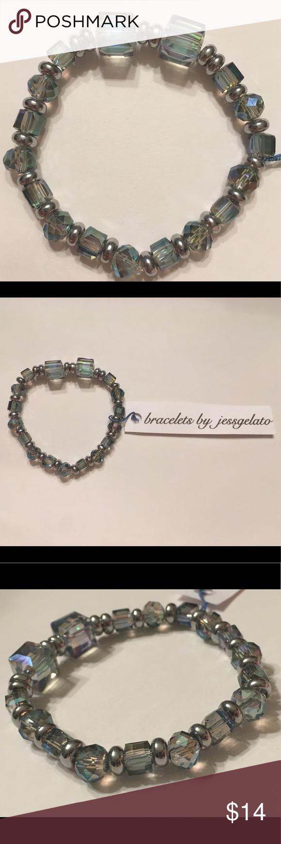Handmade gem stone and silver beaded bracelet Handmade gem