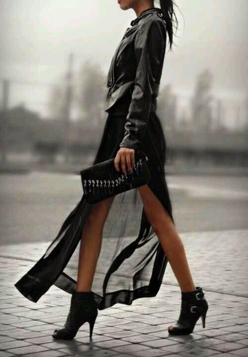 all black maxi skirt leather jacket booties let 39 s. Black Bedroom Furniture Sets. Home Design Ideas