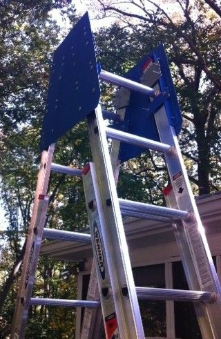 The Ladder Morph Is A Two Part Metal Bracket System That Converts Two Extension Ladders Into An Adjustable A Frame Ladder Seeking Ladder A Frame Ladder Frame
