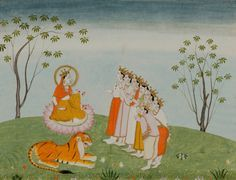 The Gods Appeal to the Great Devi for Help. Folio from a Devimahatmya series with Sanskrit text in Devanagari script on reverse. India, Himachal Pradesh, Kangra early 19th century. Color and gold on paper