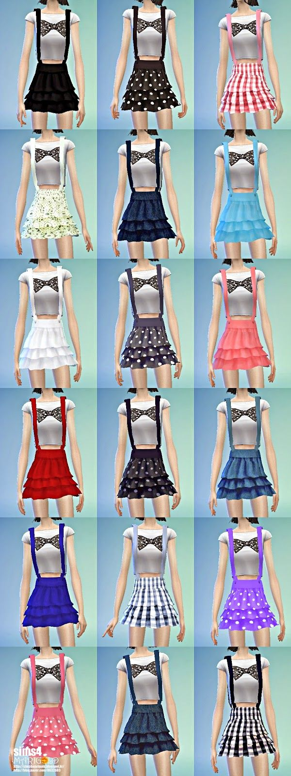 suspender tiered skirt_ tiered skirt with suspenders women's clothing _ ~ SIMS4 marigod