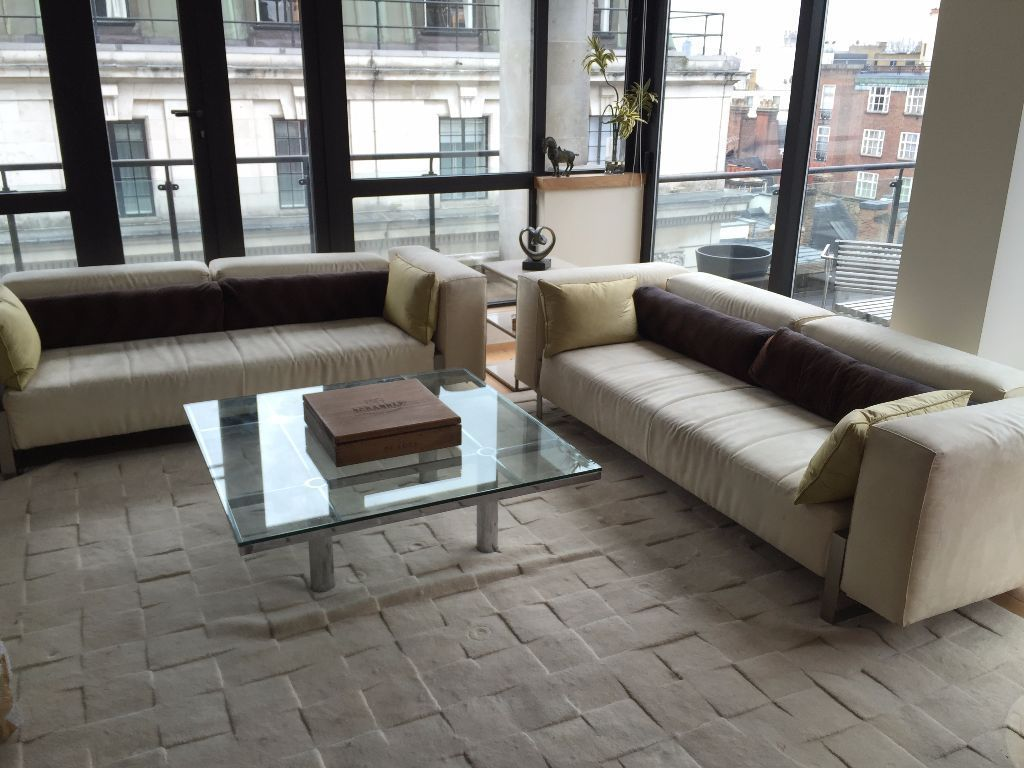 Two Vibieffe White/Cream Sofas in Westminster, London