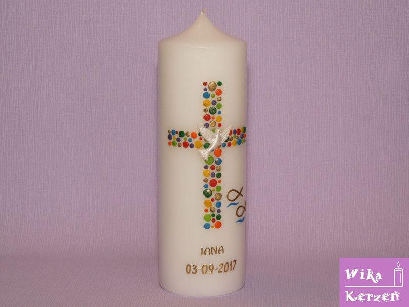 Taufkerzen Taufkerze Madchen Junge Kreuz Kreise 16 Ein