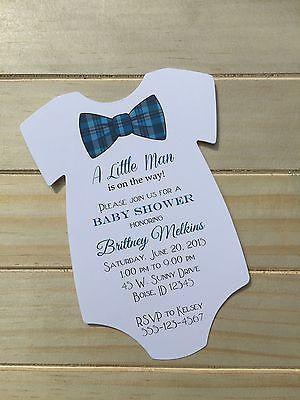 Baby Shower Invitation for Boy Blue Plaid Bowtie Design