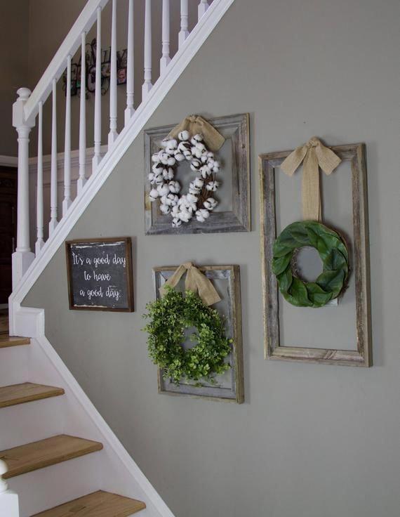 Photo of Farmhouse wreath, Gallery Wall Decor, Rustic Decor, Wreath in frame, Cottage wreath, Eucalypt …