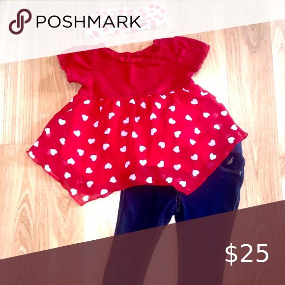 3piece little girls heart print outfit