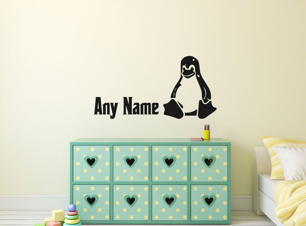 Personalised linux penguin vinyl wall sticker home mural decor room decal art ebay