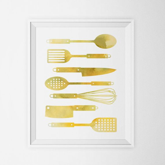 Gold Watercolor Kitchen Utensils Art Print Spoon Spatula Whisk Knife ...