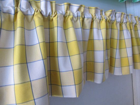 Blue And Yellow Kitchen Curtains Blue Yellow Window Pane Plaid Valance Whimsical By Bettyandb Kitchen Curtains Blue Kitchen Curtains Country Kitchen Curtains